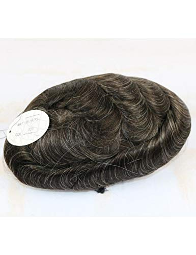 JKDKK perruques Thin Skin Toupee Men Real Human Hair Pieces Natural Hairline Virgin Hair Replacement System , 7X9,320# Wave