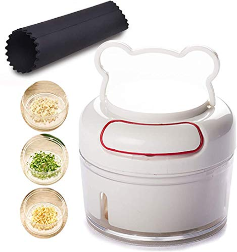 Manual Food Chopper Garlic Press - Mini Hand Crusher Mincer for Vegetable Meat Nuts Pepper Baby Food Best Tool BPA Free Easy to Assemble, Use and Clean