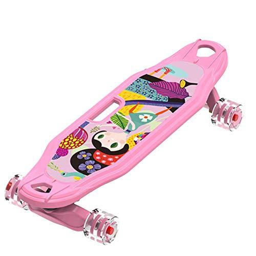 LHLYL-DP Monopatín Lindo para niña, monopatín portátil portátil, Mini patineta Rosa, Tablas de Skate Completas de Crucero de 25 Pulgadas, niñas/niños