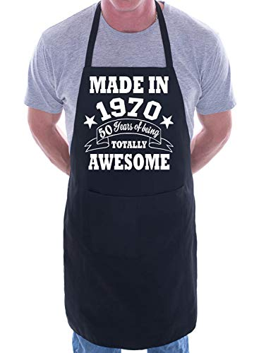 50th Birthday Made In 1970 BBQ Cooking Funny Novelty Apron Black