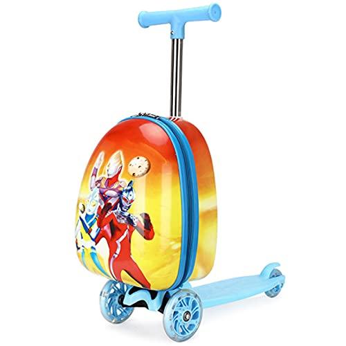 Maleta Trolley Para Patineta Para Niños, Equipaje De Vacaciones Scooter De Viaje Multifunción Maleta De 15 Pulgadas Con Scooter Universal De Cabina Con Ruedas Y Combo De Carro (27 * 60Cm),Rojo
