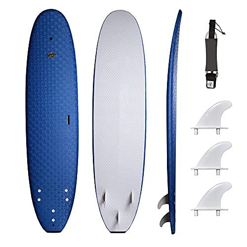 South Bay Board Co. - Premium Surfboard for Beginners – Wax-Free Soft-Top Foam Surfboard – 8' Verve - Blue - Fins & Leash Included – Custom Beginner Shape for Easier, Better Surfing for Adults & Kids
