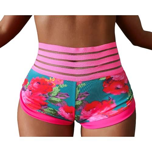 Corumly Pantalones Cortos Deportivos para Mujer Pantalones Cortos de Yoga con Estampado Floral de Personalidad de Moda Pantalones Cortos Deportivos con Estampado Digital 3D XL