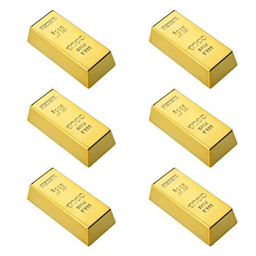 Cabilock 6 Piezas de Imán de Nevera de Barra de Oro Mini Imanes de Refrigerador de Barra de Oro Falso Papel Dorado Peso Ladrillo Película Prop Novedad Regalo Joke Prop Dorado
