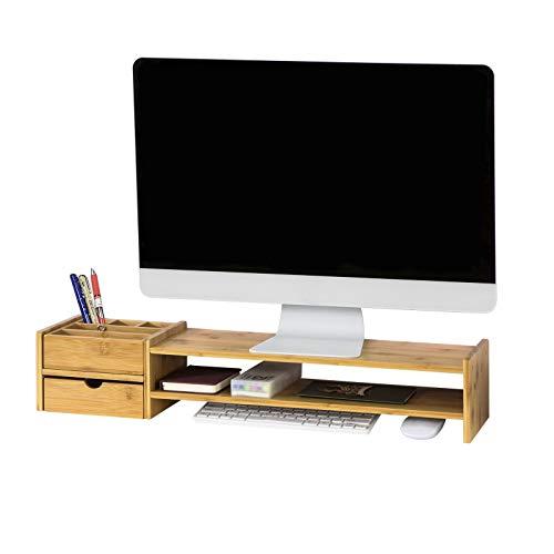 SoBuy BBF01-N Monitorerhöhung Monitorständer Bildschirmständer Schreibtischaufsatz mit 2 Stufen und 2 seitlichen Aufbewahrungsboxen Bambus BHT ca.: 70x13x19cm