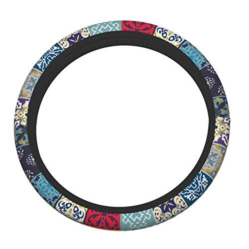 Funda de volante para hombres y mujeres de 38 cm Hippie Talavera mexicano azulejos indios accesorios de volante transpirable protector cubre