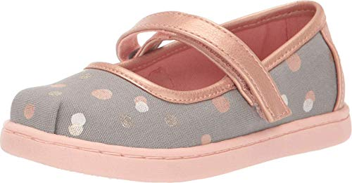 TOMS Kids Baby Girl's Mary Jane (Infant/Toddler/Little Kid) Drizzle Grey Party Dots 6 Toddler