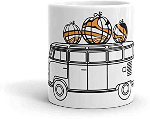 10 oz koffiemok, Hippie oogst mok, val koffie beker, pompoen specerij liefhebber, pompoen camper Van, magnetron & vaatwasser veilig, de vredige Hippie - koffie mok