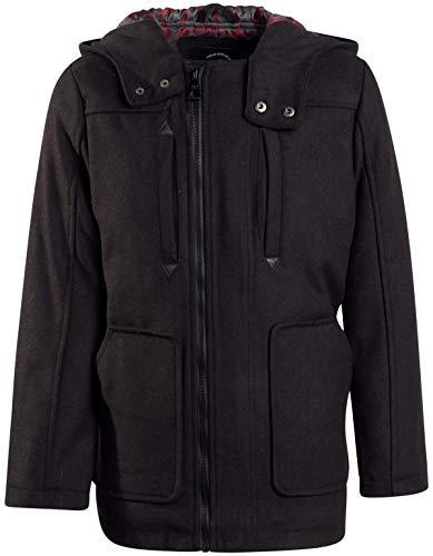Urban Republic Boys Wool Officer Jacket with Hood (14/16, Black-Plaid)