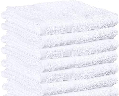 Towels N More 6 Pcs New Gym Towels 20x40 White 100% Cotton Terry Bath Towels Salon Towels Light Weight Fast Drying(6)