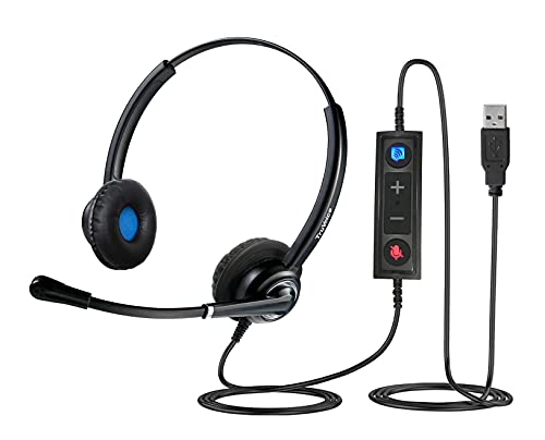 VoicePro 20 Double Ear Professional USB Call Center/Office Headset with Noise Canceling Microphone and in-Line Call Controls. Compatible with Skype, Dragon, Teams, Zoom, Cisco Jabber, Avaya X + More
