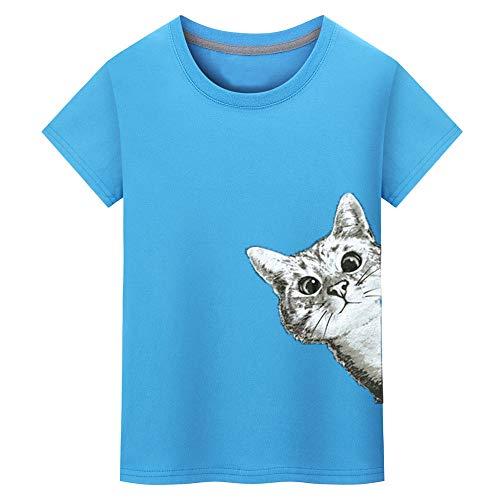 UROSA Fashion Men Tops Cat Printing Shirt Short Sleeve Round Neck T Shirt Blouse 2019 Blue