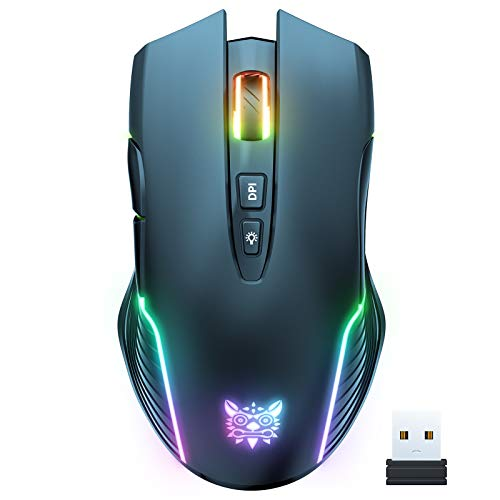 ONIKUMA RGB Wireless Gaming Mouse, Rechargeable Computer Mice with RGB Backlit, 5 Adjustable DPI Up to 3600, Ergonomic Laptop PC Mouse with 7 Buttons (Not Programmable) for Windows Vista Linux, Black