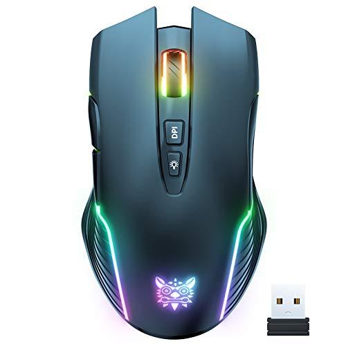 ONIKUMA Mouse wireless RGB per gaming, ricaricabile, ergonomico, per PC portatile con retroilluminazione RGB, 5 DPI regolabili fino a 3600, 7 tasti (non programmabili) per Windows Vista Linux (Black)
