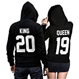 King Queen + Wunschnummer Set 2 Hoodies Pullover Pulli Liebe Love Pärchen Couple Schwarz (King Gr. M + Queen Gr. M)