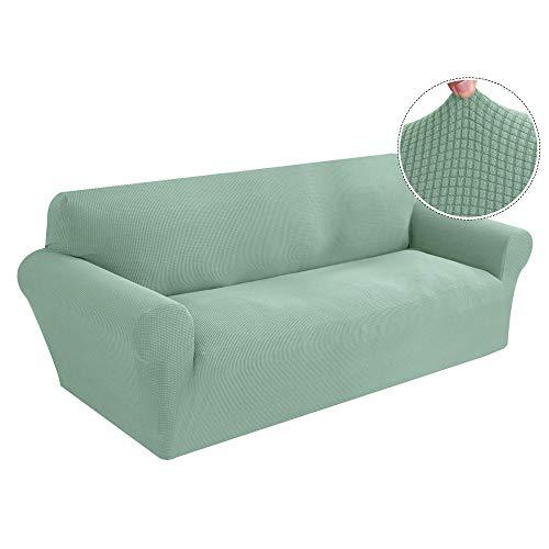HXTSWGS Cubiertas Elegantes de los Muebles,Funda elástica para sofá, Fundas elásticas Tejidas y Gruesas para la Sala de Estar Funda para sofá Funda para sillón-Azul-Verde_Cuatro Asientos 235-300CM_