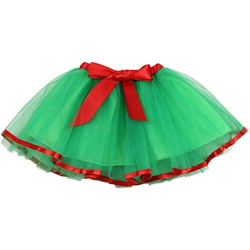 Jastore Girls Layered Party Birthday Tutu Skirt Dance Princess Ballet Dress Green Bowknot