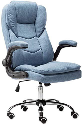 Rollsnownow Ergonomischer Bürostuhl Classic Leder Computer Stuhl Padded Mid-Back-Büro-Schreibtisch-Stuhl mit Armlehne Sessel (Size : Blue)