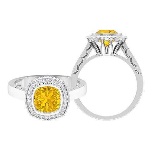 1.75 CT Anillo de compromiso vintage con zafiro amarillo creado y moissanita, 14K Oro blanco, Size:EU 60