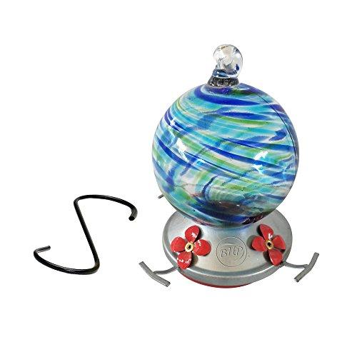 Best Home Products Hummingbird Feeder, Blown Glass, Blue Lagoon, 3 Cups