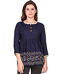 Elyraa Womens Embroidered Western Cotton Top (Blue Colour)