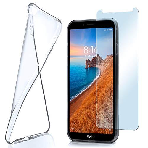 moex Aero Hülle mit Panzerglas für Xiaomi Redmi 7A - Hülle mit Schutzfolie, transparent - Crystal Clear
