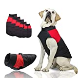 SunteeLong Dog Jackets Dog Clod Weather Coat Waterproof Windproof Warm Dog Vest Cold Weather Pet Apparel for Small Medium Large Dogs Red M