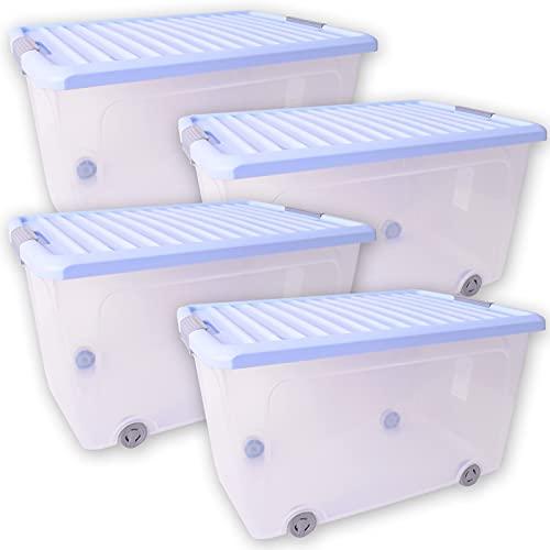 TE-Trend 4 contenitori con coperchio, 50 l, in plastica, con ruote, per vestiti, giocattoli, cibo per cani, per la casa, trasparente