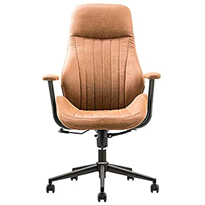 ovios Ergonomic Office Chair,Modern Computer Desk Chair,high Back Suede Fabric Desk Chair with Lumbar Support for Executive or Home Office (Brown)