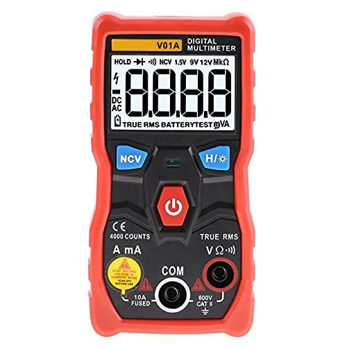 Multímetro digital V01A con iluminación de fondo y multímetro NCV AC/DC Auto Range con linterna para la industria Mit(rojo)