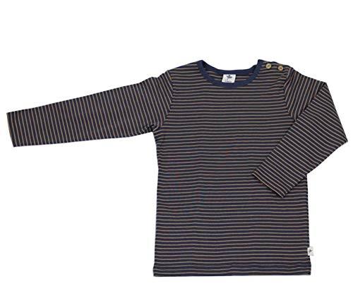 Leela Cotton Baby Kinder Langarmshirt Ringelshirt Bio-Baumwolle GOTS T-Shirt Shirt Jungen Mädchen Gr. 50/56 bis 128 (98/104, ingwer-Indigo)