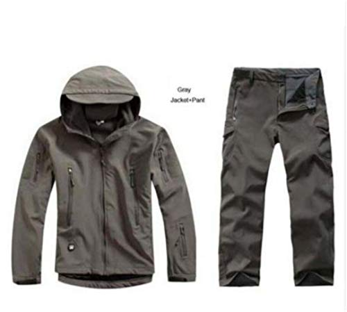 Herren Outdoor Wasserdicht Armee Fan Soft Shell Jagd Tad-Jacken-Klage Tactical Camping Fischen Bergsteigen Winter-4XL Set Grmy XL