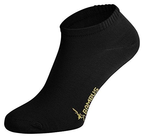 Tobeni 6 Paar Damen Sneaker Socken Bambussocken Füsslinge Farbe Schwarz Grösse 35-38