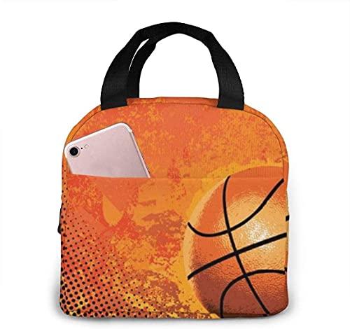 Bolsa de almuerzo con aislamiento térmico portátil de baloncesto con cierre de cremallera, caja más fresca reutilizable para adultos