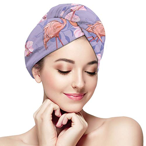 Seamless Flamingo Pattern Microfiber Dry Hair Cap Fast Drying Hair Towel With Button Wrap Turban For Women Girls