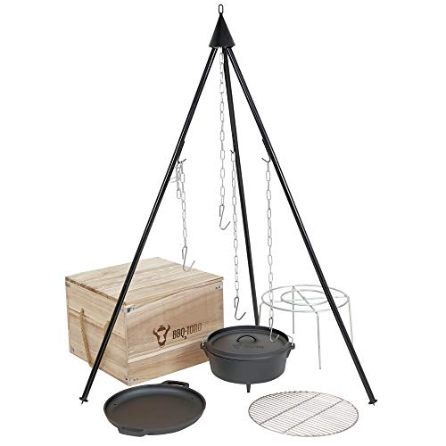BBQ-Toro 6-piece dutch oven set in wooden box, cast iron, pre-seasoned, with cooking pot, saucepan, grill rack, tripod and more