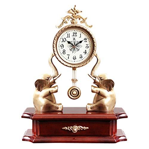 ZLDMYC Exquisito Reloj de péndulo Retro Relojes de Escritorio de latón Creativo Mesa de Mesa Reloj de Manto clásico con cajón, decoración del hogar Creativo (Color : Wood)