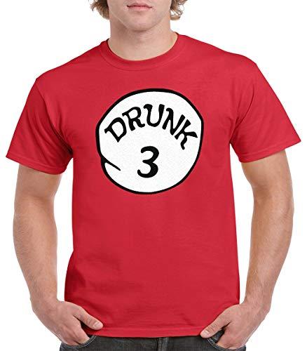 GALITI Drunk 1 Drunk 2 Drunk 1,2,3,4,5, Funny Group T-Shirt (L, Drunk 3) Red