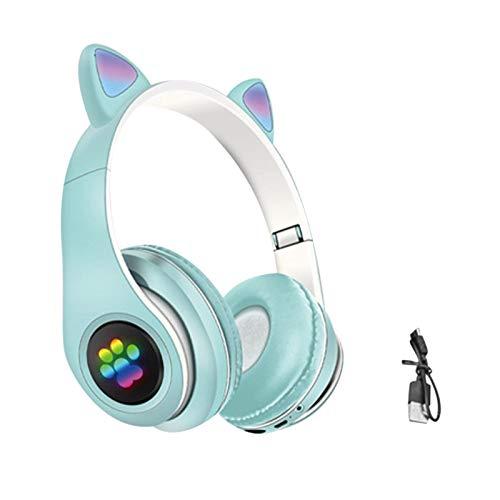 Jingtaihua Auriculares para niños, auriculares inalámbricos Bluetooth 5.0 para orejas de gato plegables sobre la oreja para niños y niñas, compatible con llamadas de voz y tarjetas TF