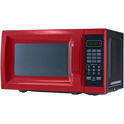 Best Price Mainstays 0.7 Cu. Ft. 700W Red Microwave with 10 Power Levels