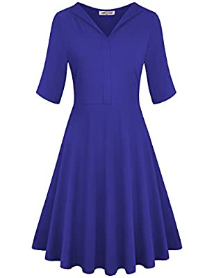 SeSe Code Women's V Neck Elbow Sleeve Empire Waist Casual Work Dresses