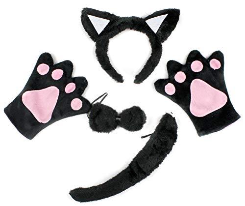 Costume pour enfants, chat noir, 4 pièces, bandeau, nœud papillon, queue, gants, de Petitebelle - Noir - Taille Unique