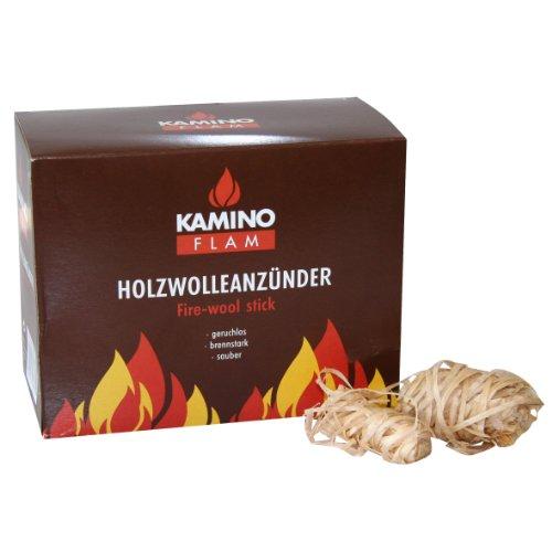 Kamino - Flam – Encendido de lana (32 piezas), Lana de madera, Pastillas de lana para chimeneas, estufas, calderas y barbacoas, Briquetas para chimenea