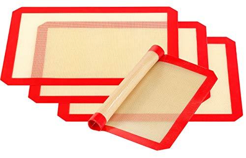 Rosenstein & Söhne Dauerbackfolie Silikon: 4er-Set Antihaft-Dauer-Backmatten aus Silikon, 30 x 40 cm, BPA-frei (Antihaft-Backfolie)