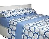 SABANALIA - Juego de sábanas Franela Aros (Disponible en Varios tamaños y Colores), Cama 150, Azul