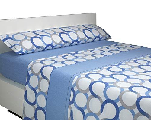 SABANALIA - Juego de sábanas Franela Aros (Disponible en Varios tamaños y Colores), Cama 105, Azul