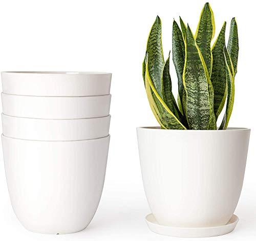 Mkouo 14cm Plastic Planters Indoor Set of 5 Flower Plant Pots Modern Decorative Garden Pot with...