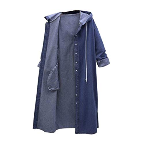 Neu Damen Langarm Shirt Pullover Oberteile,Kapuzen Oberteil,Jeansjacke Oberteil,Beiläufige Lange Hülsen-Denim-Jacke Langer Jean Coat Outwear Overcoat S-XL (Blau, L)