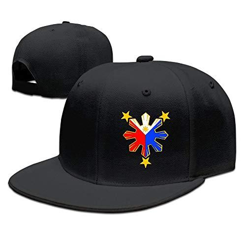 Pinoy Filipino Flag Stars Flat Bill Cap Adjustable Baseball Cap Snapback Hat Hip Hop Cap Black
