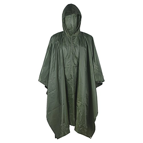 LOOGU Military Camouflage Rain Poncho for Outdoor Camping...